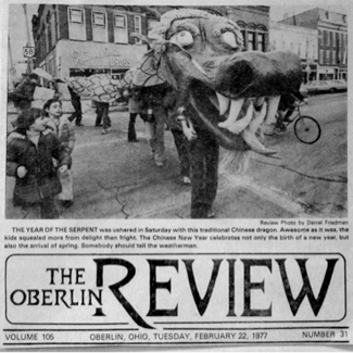 A newspaper photo of the dragon at a parade