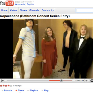 YouTube screenshot with title Copacabana (Bathroom Concert Series Entry),  showing 4 people in a bathroom