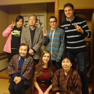 American students with a Japanese family