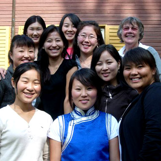Anita with a group of young women in Mongolia