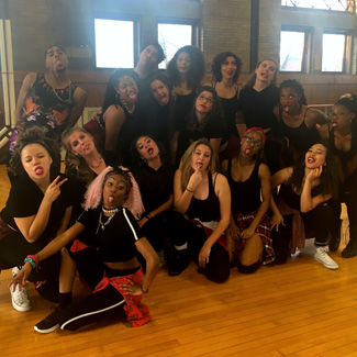 Hip-hop dancers at rehearsal