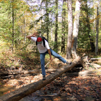 Jules tries to balance on a log over a stream