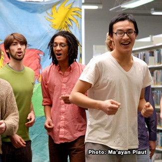 The Obertones rehearsing