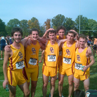 Group of runners in OC uniforms after a race
