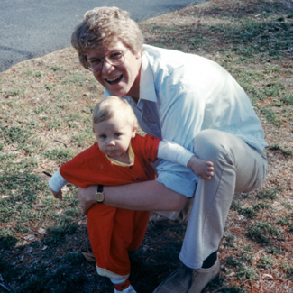 Peter with his son as a toddler.