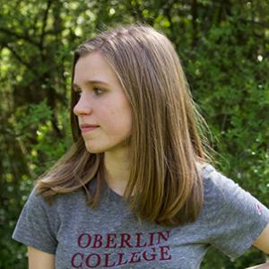 Janelle wearing an Oberlin College t-shirt