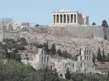 distant view of ancient architecture in Greece