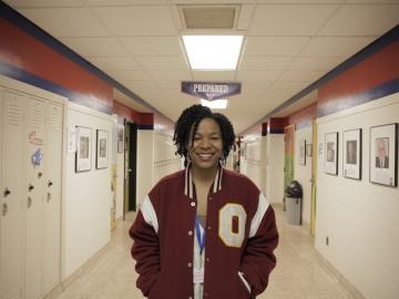 Amethyst Carey stands in the halls of Oberlin High School