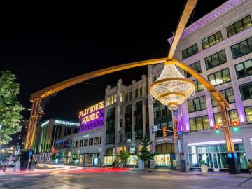 Playhouse Square at night.