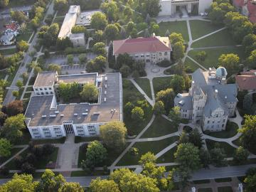 aerial photo of Oberlin College campus buildings