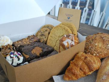 Box of cookies and cakes.