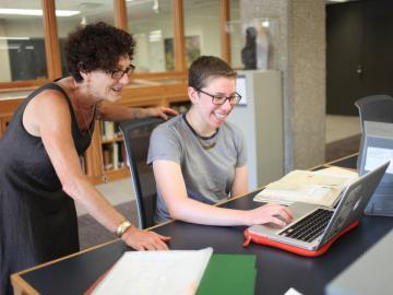Professor of History Carol Lasser works with junior history major Natalia Shevin