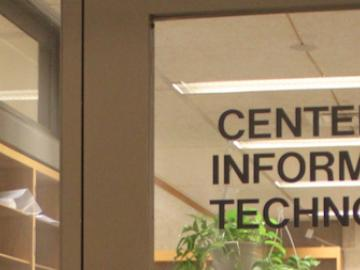 "door with the text ""Center for Information Technology"""
