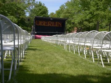 view of the Oberlin commencement stage