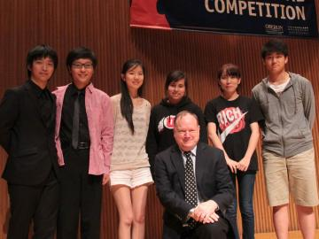 The six recital finalists of the 2013 Cooper International Competition with Cooper director and jury chair Gregory Fulkerson