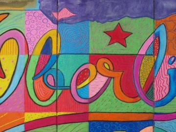 "Colorful chalk drawing of the word ""Oberlin"""