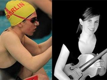 Two photos of Olivia, one in the pool and one with a violin.