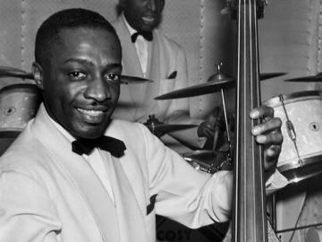 Milt Hinton with his base