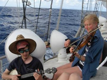 Sophie Davis and her crew mates made music on the deck of their research vessel