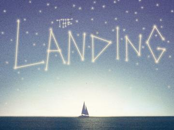 The Landing: title over a distant sailboat on calm water
