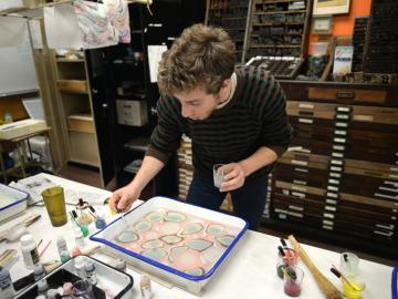 Student in the letterpress studio
