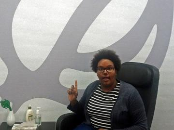 Maya Mariner '15 in The Onion offices