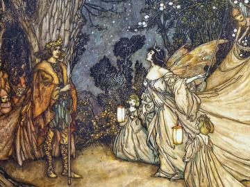 lovers meet in the woods accompanied by fairies and other creatures