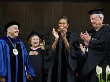 Michelle Obama at commencement exercise in 2015
