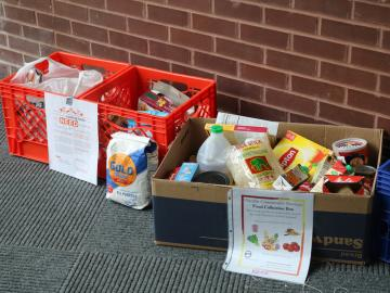 Boxes containing donated food items
