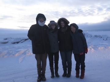students with professor at Point Barrow, Alaska