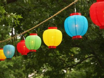 Chinese lanterns strung along Tappan Square