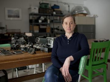 photo of professor with art equipment