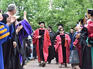 Faculty walk at commencement ceremony