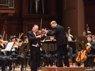 Violinist Gregory Fulkerson and conductor Raphael Jiménez with the Oberlin Chamber Orchestra