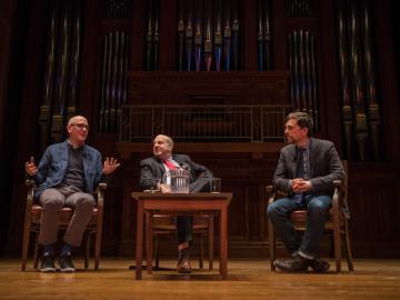 Seated on stage: Daniel Radosh, Marvin Krislov, and Ed Helms