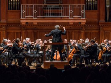 view of cleveland orchestra string section on Finney Chapel stage