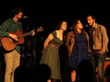 Sam Amidon, Emily Miller, Zara Bode, and Stefan Amidon perform in the Cat in the Cream at Folk Fest 2014