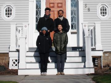 Shansi winter term grant recipients on the steps of the Shanis house