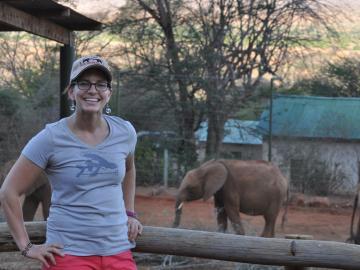 Sophia Weinmann standing in front on elephant