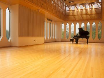 Large room with a grand piano