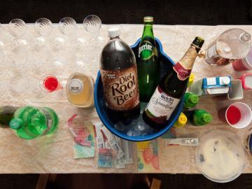 Soft drinks on ice