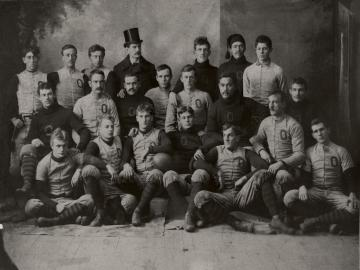 Oberlin College Varsity Football team 1892 posing together.