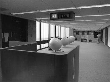 ball chairs in Oberlin College Main Library in 1974.