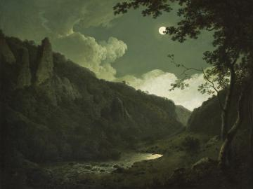 Joseph Wright of Derby painting Dovedale by Moonlight