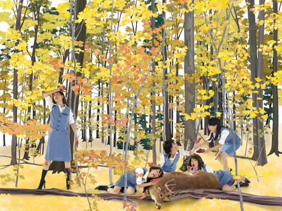 Artistic image of women in forest