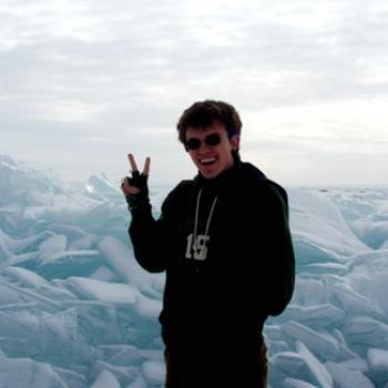 Aaron before a winter landscape