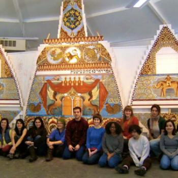 Group of students in a museum