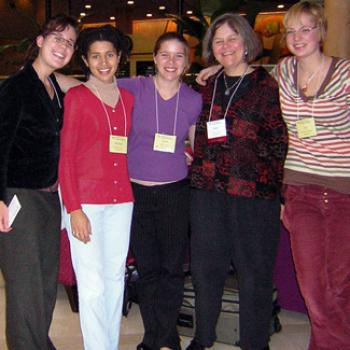Five women attending a conference