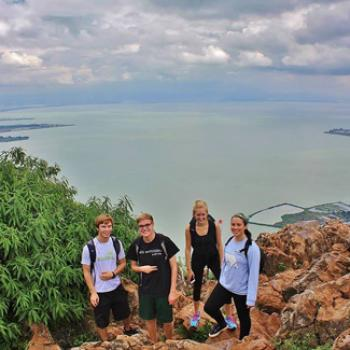 Four students at a scenic overlook