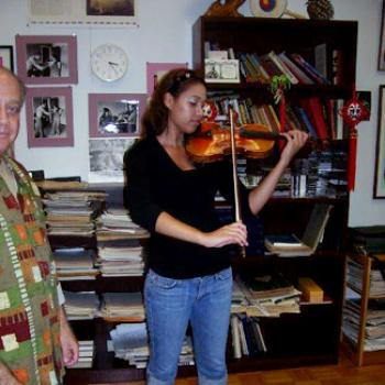 A violinist rehearses